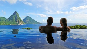 View of Pitons in St. Lucia from infinity pool